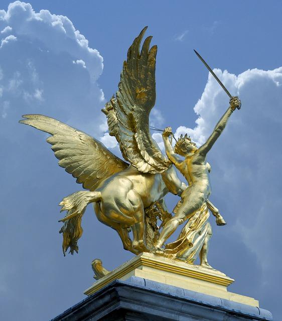 Paris, France, golden statue